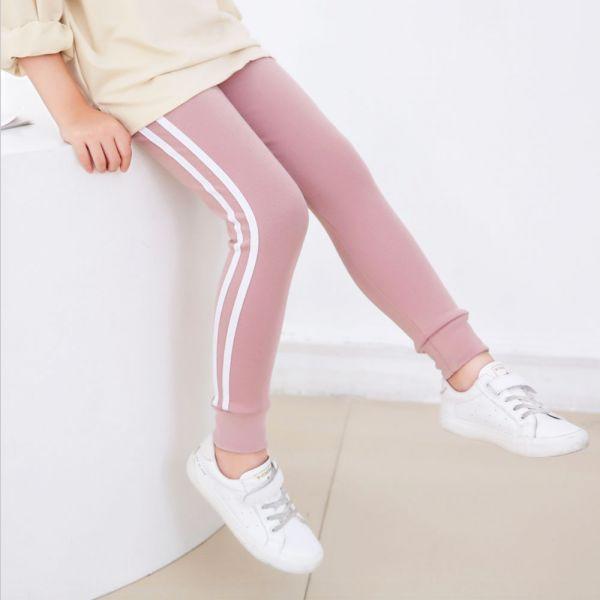現貨 薄款側條紋休閒運動褲-粉色 女童休閒運動褲,女童棉褲