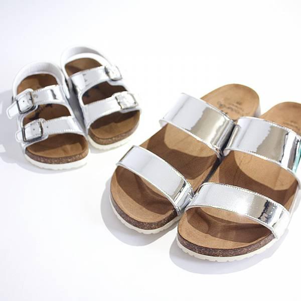現貨 金屬感休閒親子涼拖鞋-銀色大人 台灣製親子鞋,涼拖鞋,富發牌