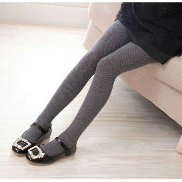 秋季純色棉羅紋條紋褲襪-共四色