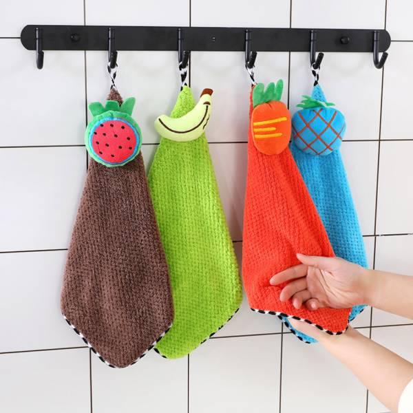 現貨 水果圖案 珊瑚絨吸水小毛巾擦手巾-共四色