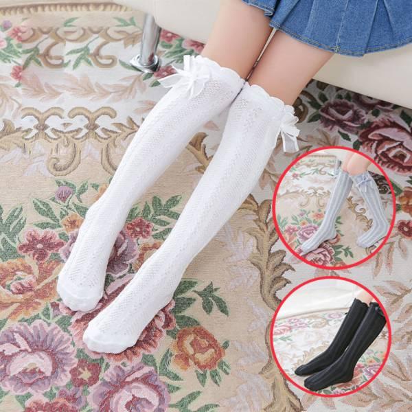 /薄款/蝴蝶結麻花長筒襪 網組襪 堆堆襪-共四色