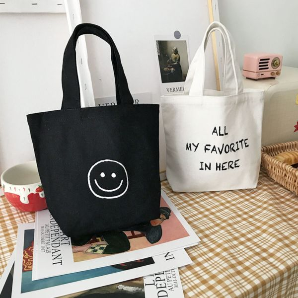 文青微笑英文帆布提袋 環保購物袋-共兩色 文青帆布提袋,環保購物袋,帆布提袋,帆布購物袋