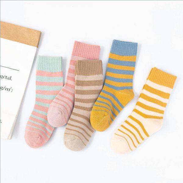 兒童運動風條紋中筒襪-一組五雙 兒童運動風條紋中筒襪,兒童中筒襪