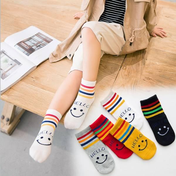 /秋冬童襪/男孩女孩 條紋微笑短襪-一組五雙