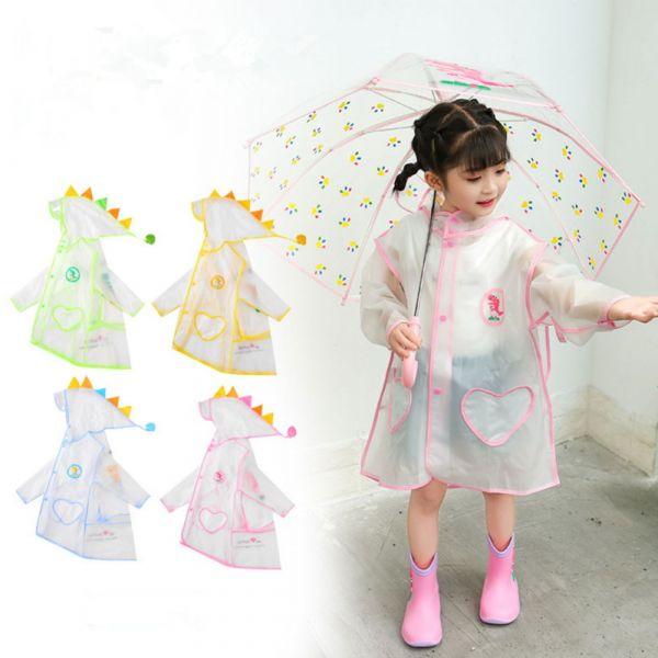 EVA小恐龍兒童雨衣 可背書包-共四色