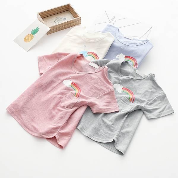現貨 彩虹印花兒童T恤 短袖棉質上衣-共兩色 彩虹印花兒童T恤,短袖棉質上衣