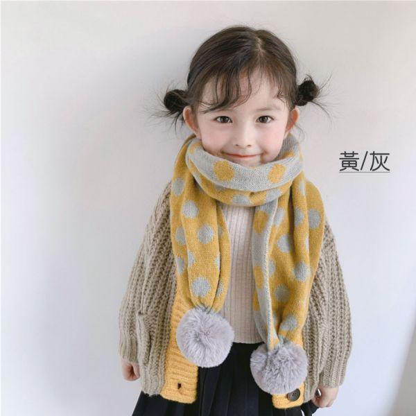 點點針織毛球保暖兒童圍巾-共七色