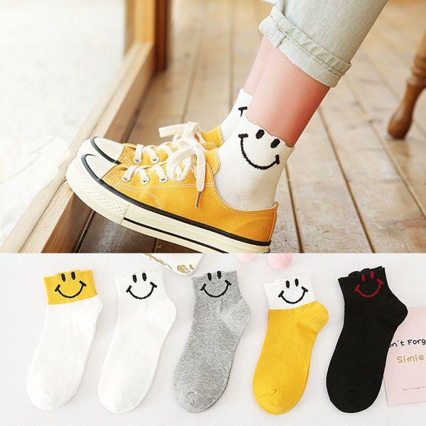 /大人/薄款微笑圖案短襪-共五色