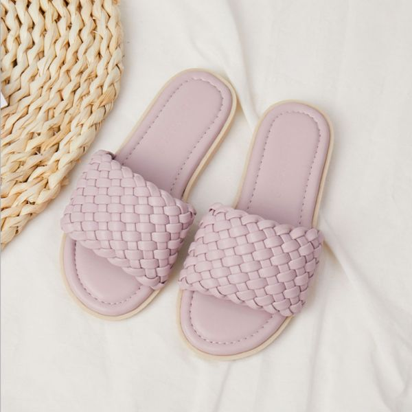 /大童/渡假風女童編織拖涼鞋-粉色