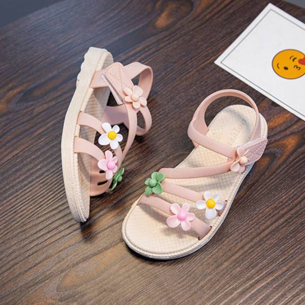 /中大童/小花防水軟底涼鞋-粉色