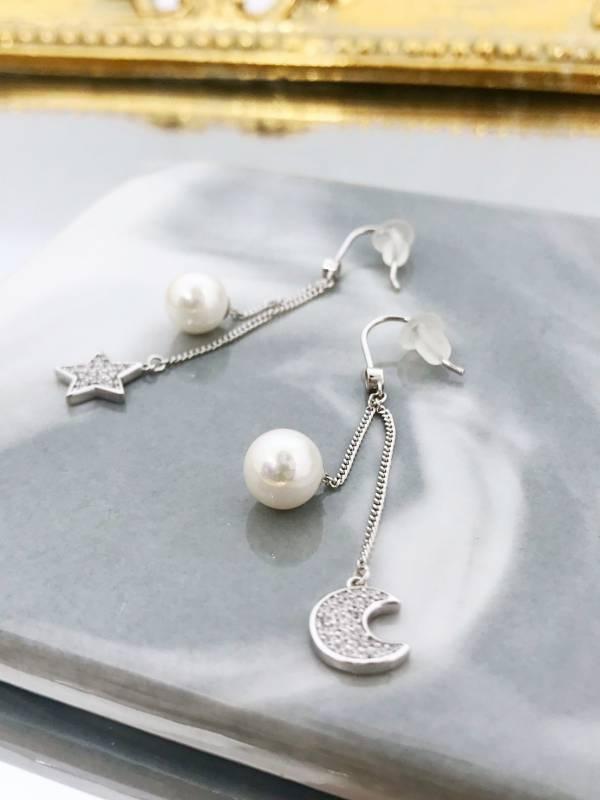 月亮星星珍珠耳環