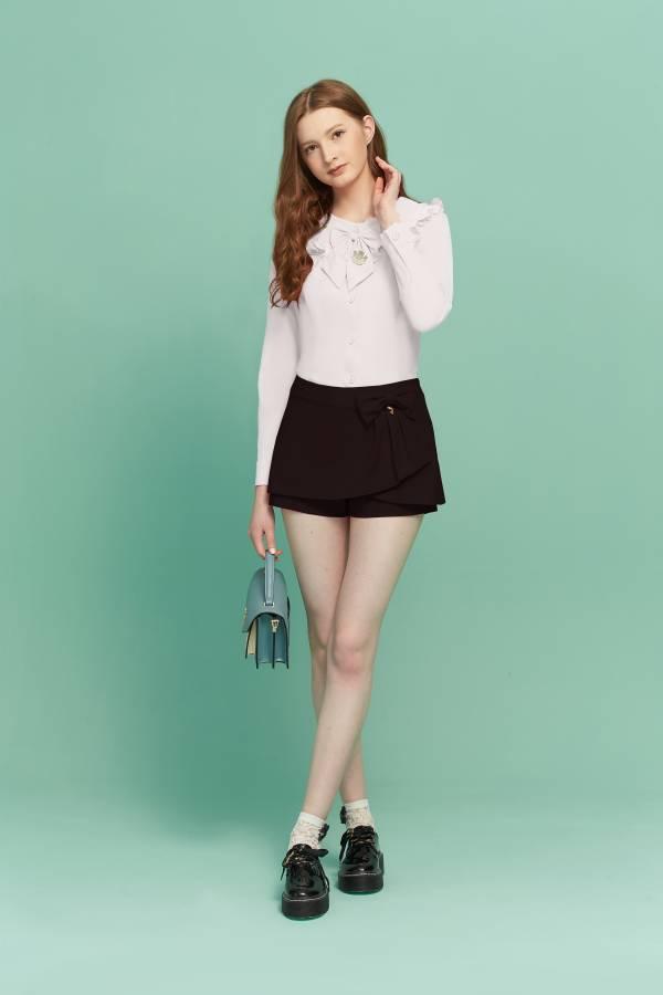 甜美壓褶荷葉領襯衫 襯衫,荷葉領襯衫,壓摺襯衫,白襯衫,蝴蝶結