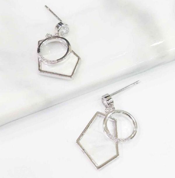 幾何圖案雙層耳環