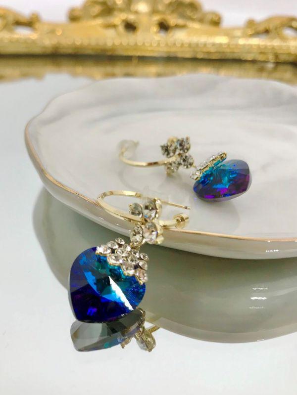 愛心藍寶石耳環