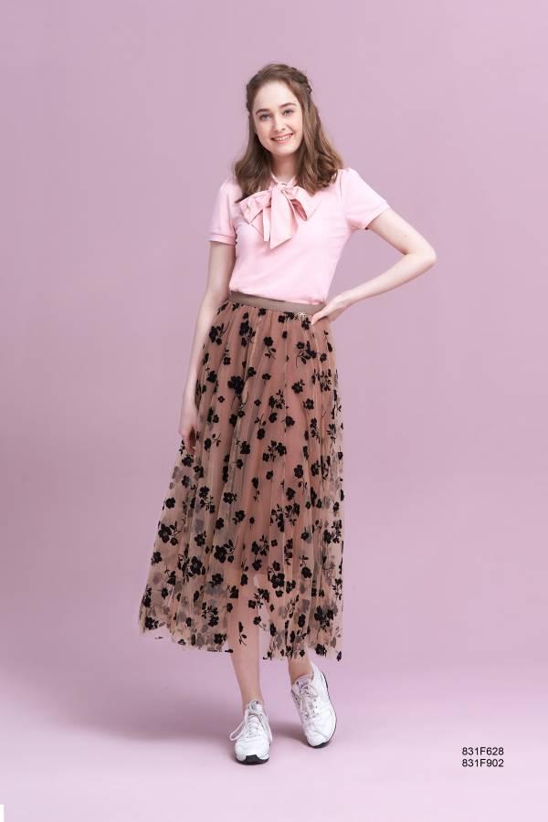 植絨網紗長裙