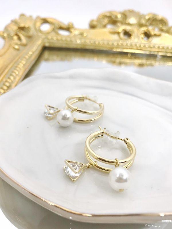鑽石三角珠珠耳環