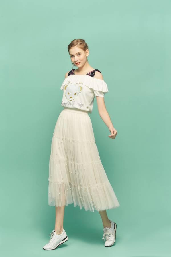 珍珠網紗裙