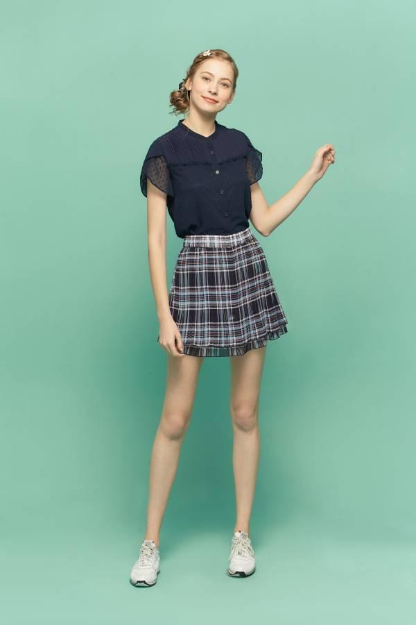 新藍格雪紡壓折裙