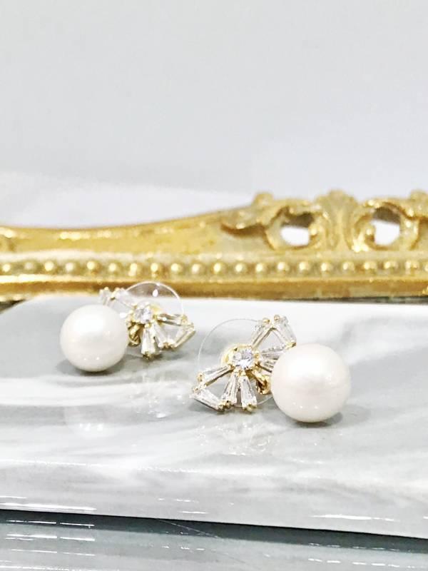 水鑽蝴蝶結珍珠耳環