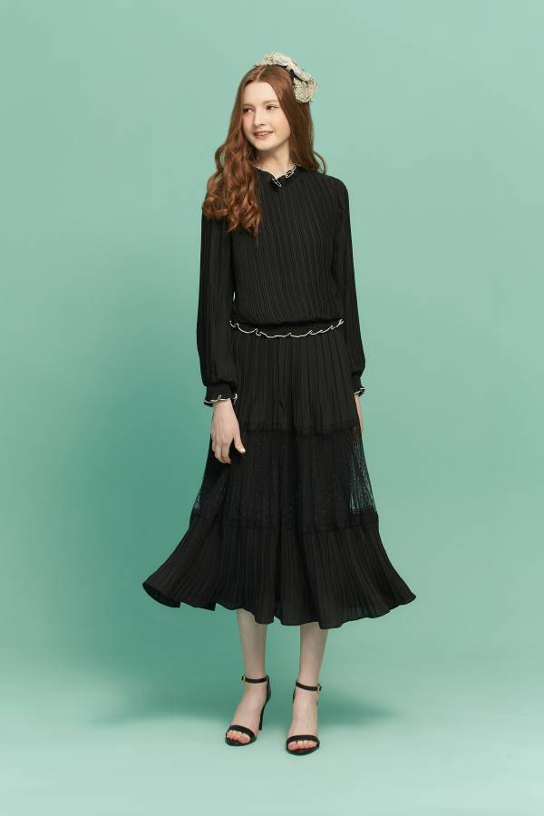 點點網雪紡壓折長裙 雪紡長裙,長裙,點點長裙