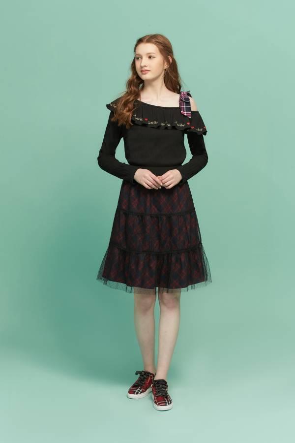 甜美格紋剪接蛋糕裙 蛋糕裙,格紋裙,格紋蛋糕裙,紅黑格紋裙