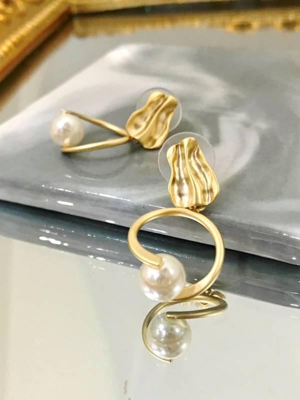 水光珍珠圓圈耳環