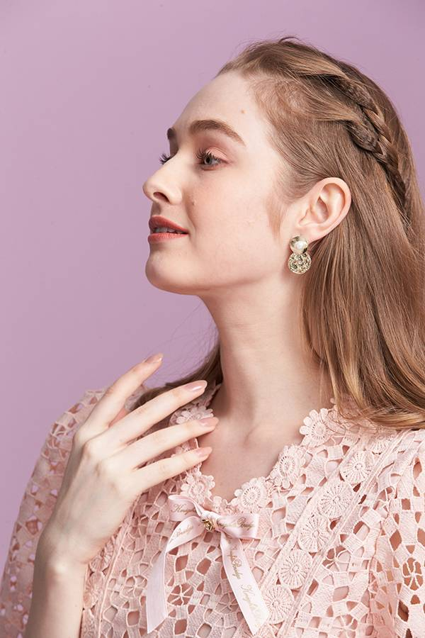 水波光珍珠耳環