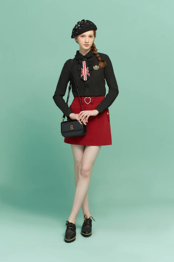 腰飾愛心環A字裙 A字裙,愛心A字裙,紅色裙子,裙子