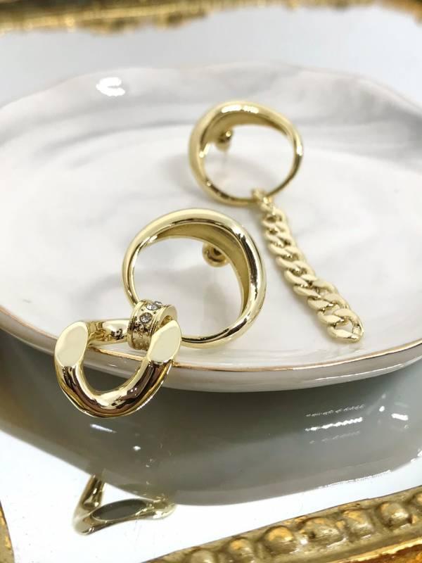 時尚金屬鍊圈垂墜耳環