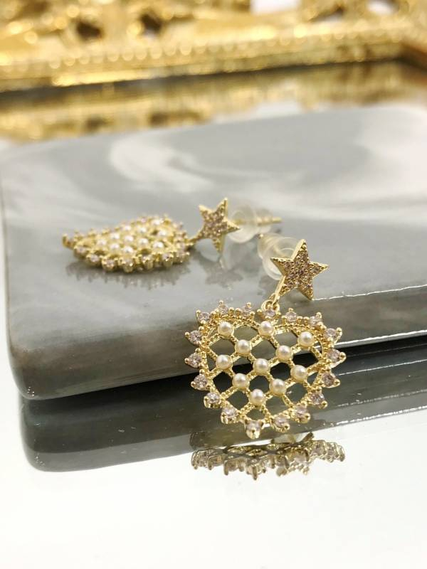 網狀珍珠愛心耳環