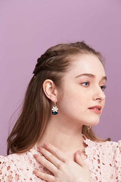沉靜藍小花耳環