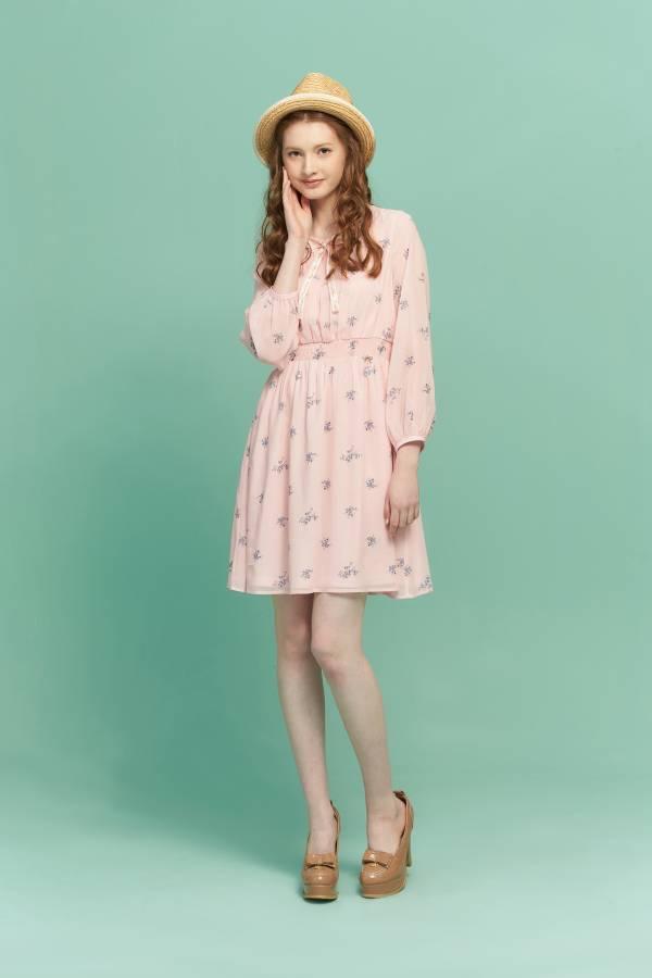 簡約草莓腰九帶長袖洋裝 長袖洋裝,洋裝