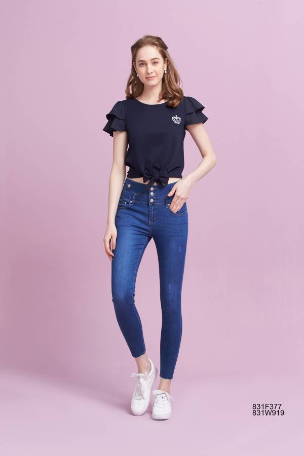 高腰排釦9分牛仔褲