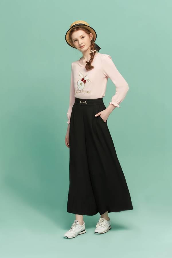 英倫打褶修身寬褲 寬褲,黑色寬褲,黑色長褲,修身寬褲