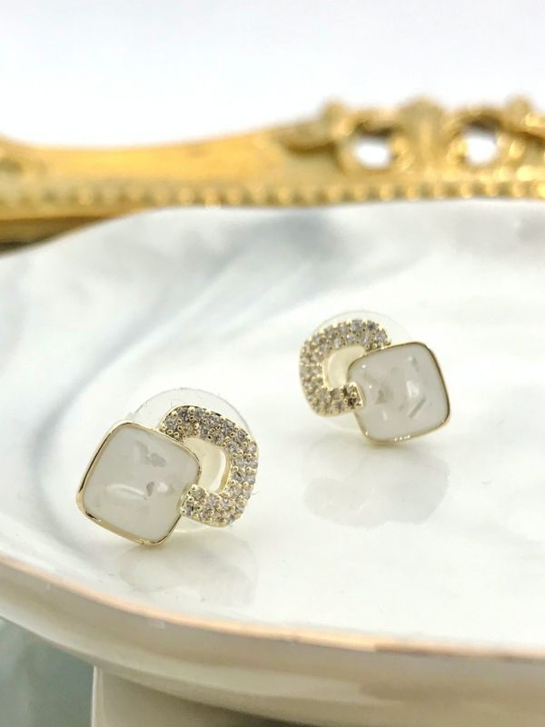 白露方形水鑽耳環