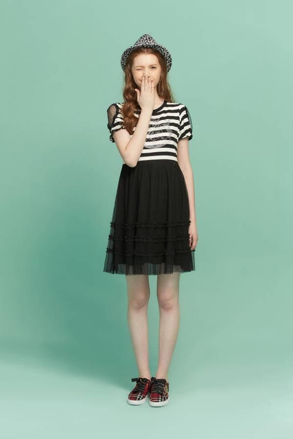 黑白條文拼接網紗洋裝