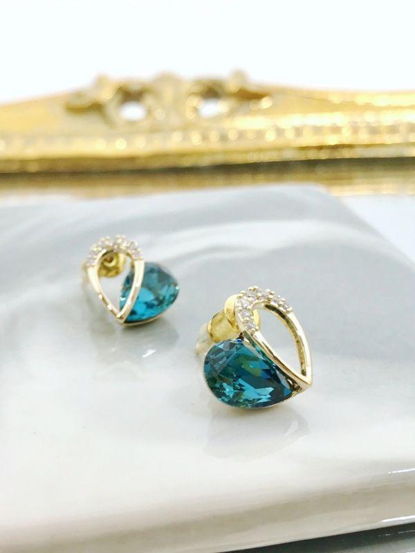 半簍空藍色愛心耳環