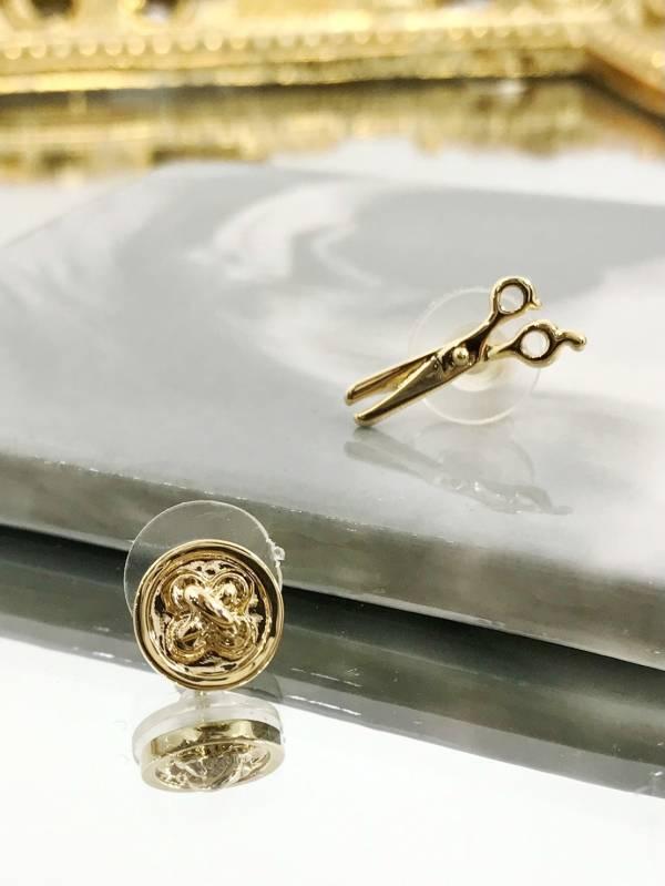 鈕釦剪刀耳環