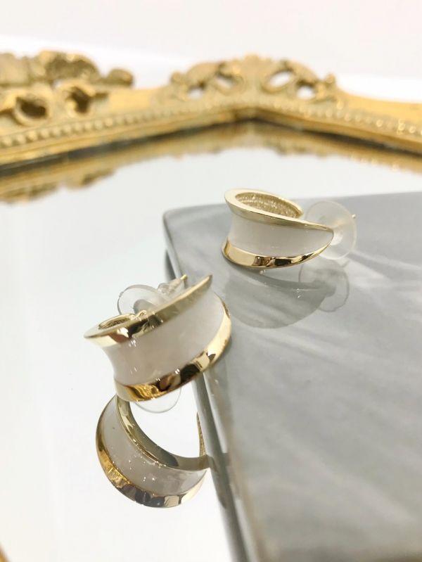 白銀寬版圓型耳環