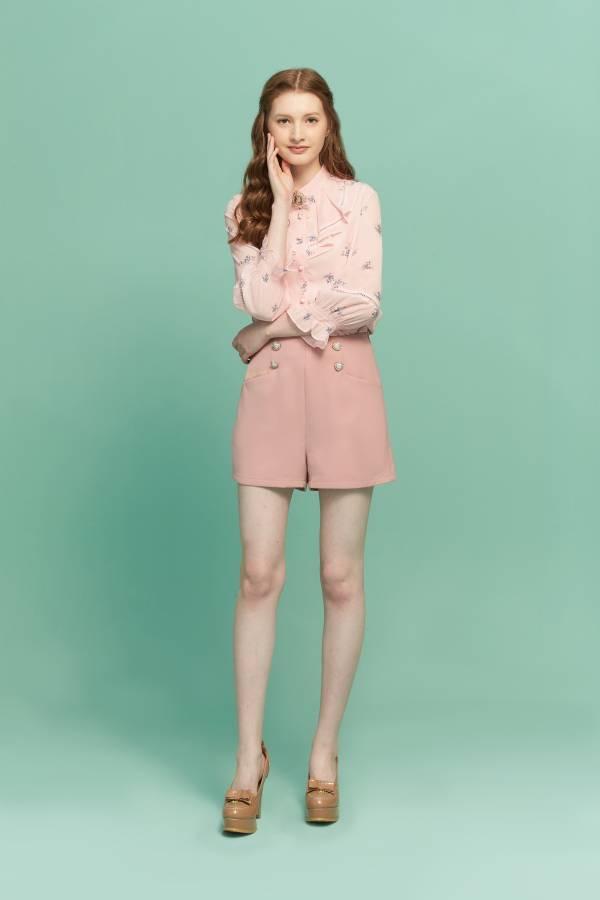 簡約高腰短褲 高腰短褲,短褲,粉紅短褲,高腰褲
