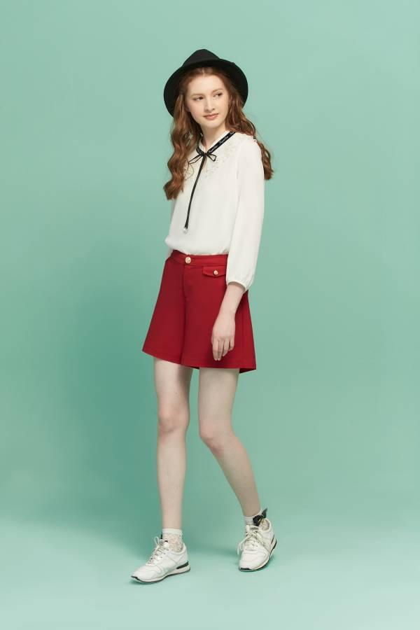 英倫都會高腰短褲 英倫,短褲,高腰短褲,紅色短褲