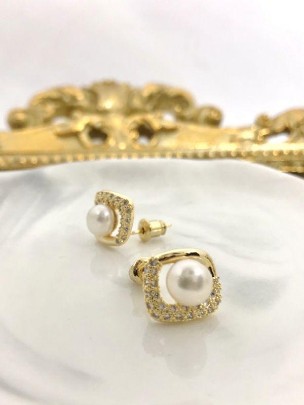水光方形珍珠耳環