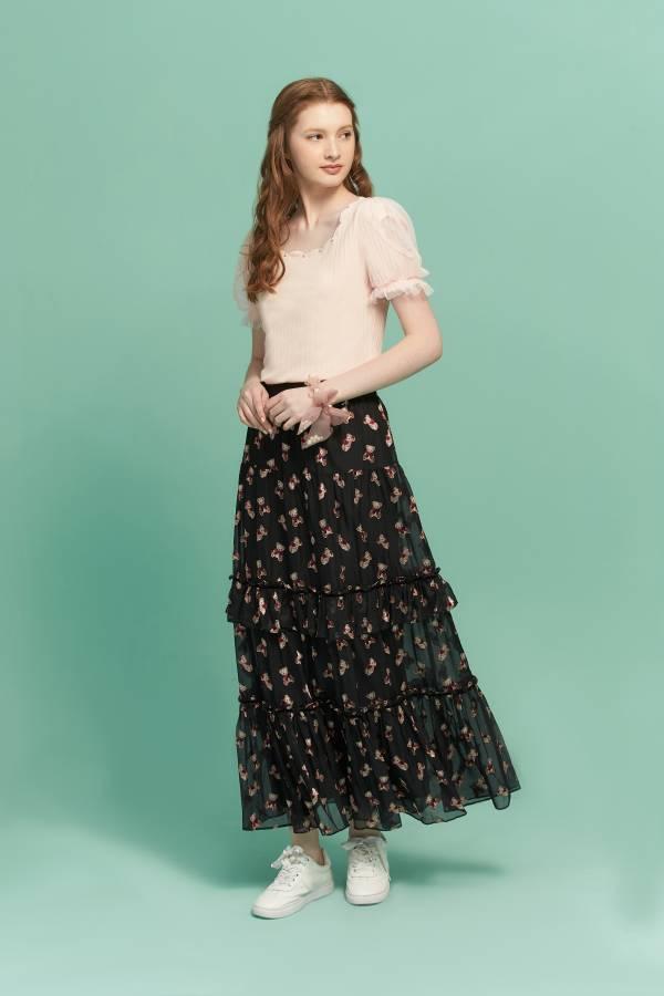 珍珠花瓣領網紗泡袖T恤 T恤,花瓣領T恤,網紗T恤