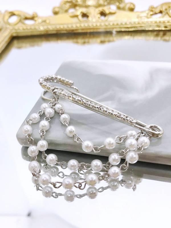 鑲鑽垂墜珍珠別針