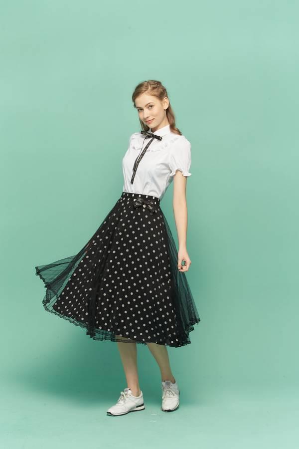 黑白波點雪紡網紗裙 紗裙