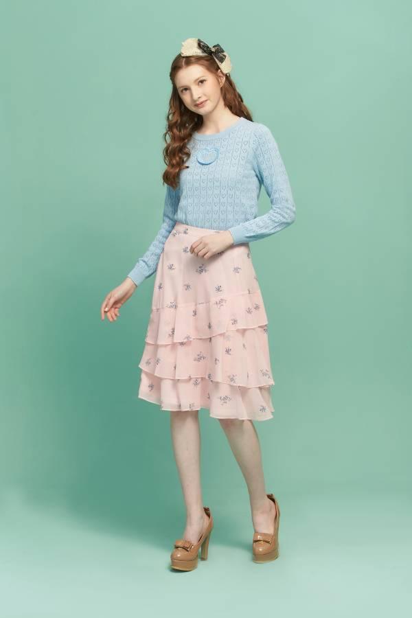 優雅草莓荷葉半長裙 荷葉邊長裙,荷葉長裙,草莓長裙,長裙,半長裙