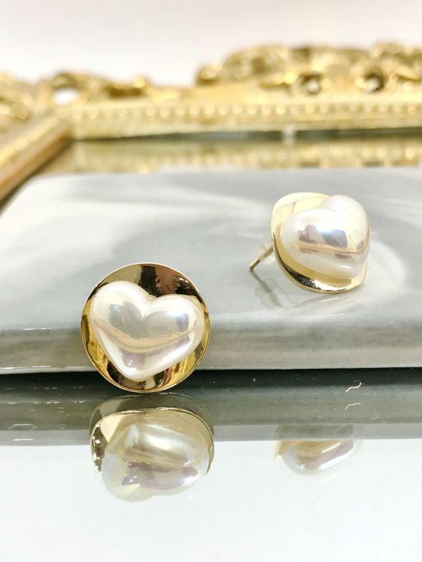 復古珍珠白愛心耳環