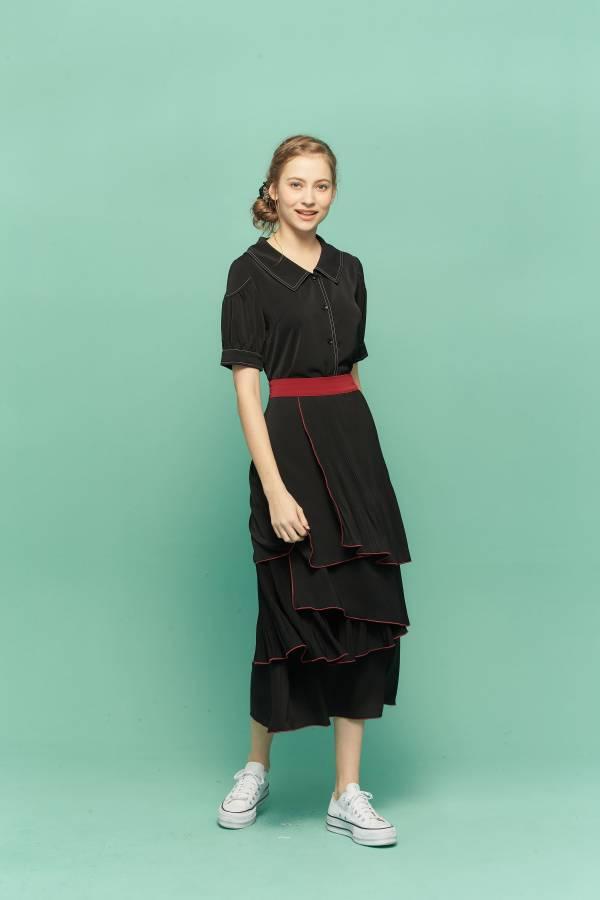優雅壓褶階層裙