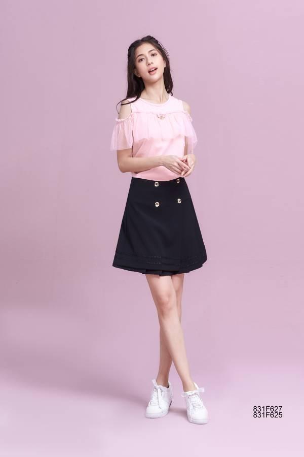 經典雙排釦褶裙