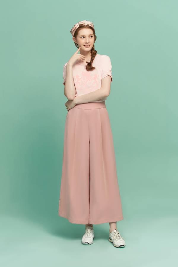 簡約打褶寬褲 寬褲,打褶寬褲,粉色寬褲